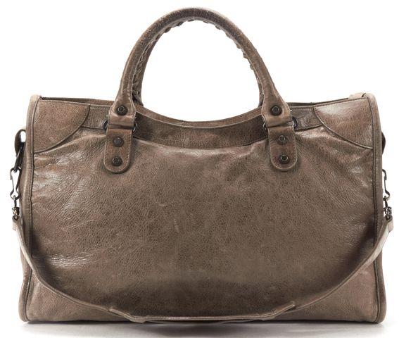 BALENCIAGA Authentic Brown Leather Classic City Satchel Handbag