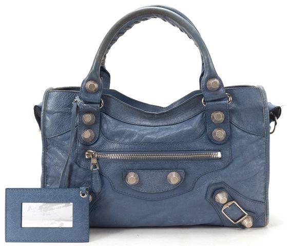 BALENCIAGA Authentic Blue Leather Giant 21 City Satchel Bag