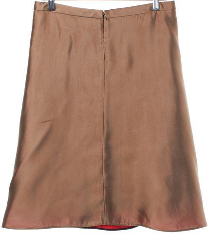BALENCIAGA Shiny Brown Gold A-Line Skirt Size 8 IT 40