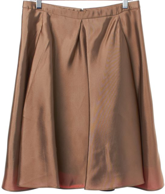 BALENCIAGA Shiny Brown Gold A-Line Skirt
