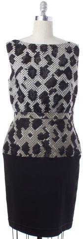BALENCIAGA Black Beige Geometric Sheath Dress Size 12 FR 44
