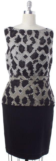 BALENCIAGA Black Beige Geometric Sheath Dress