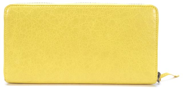 BALENCIAGA Yellow Leather Classic Continental Zip Around Wallet