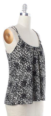 BALENCIAGA Black White Silk Print Tank Top Size 8 FR 40
