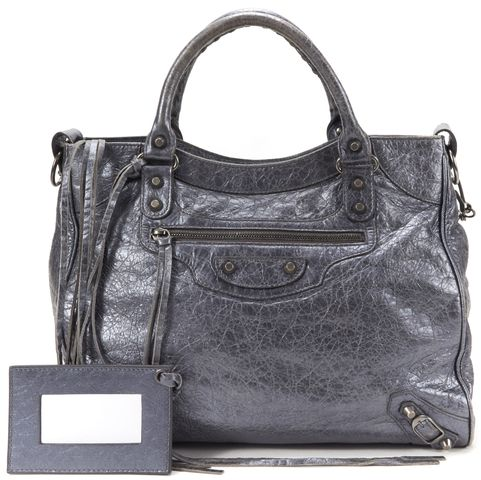 BALENCIAGA Authentic Gray Metallic Leather Classic Velo Satchel Handbag