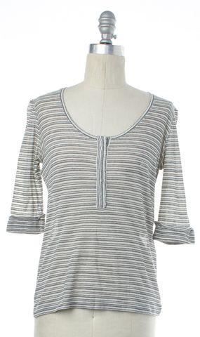 BALENCIAGA White Gray Multi Striped Knit Top Size 4 IT 40