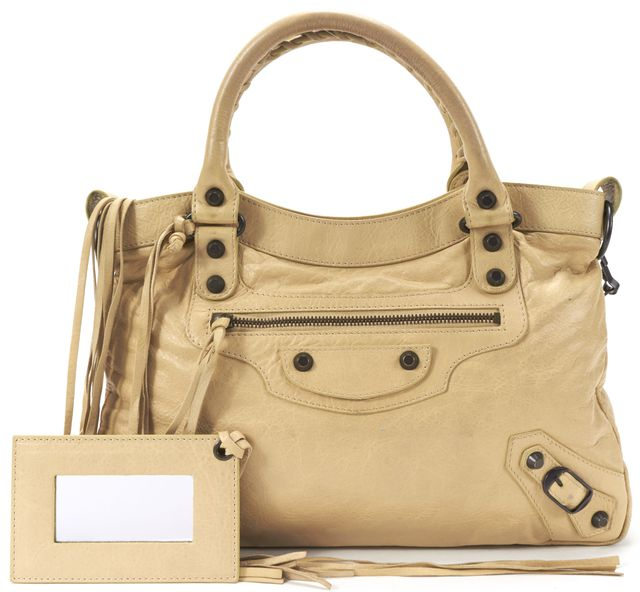 BALENCIAGA Beige Leather Classic Town Satchel Handbag