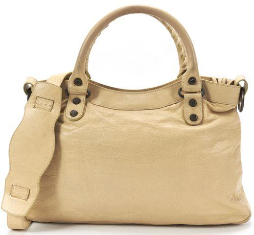 BALENCIAGA Authentic Beige Leather Classic Town Satchel Handbag