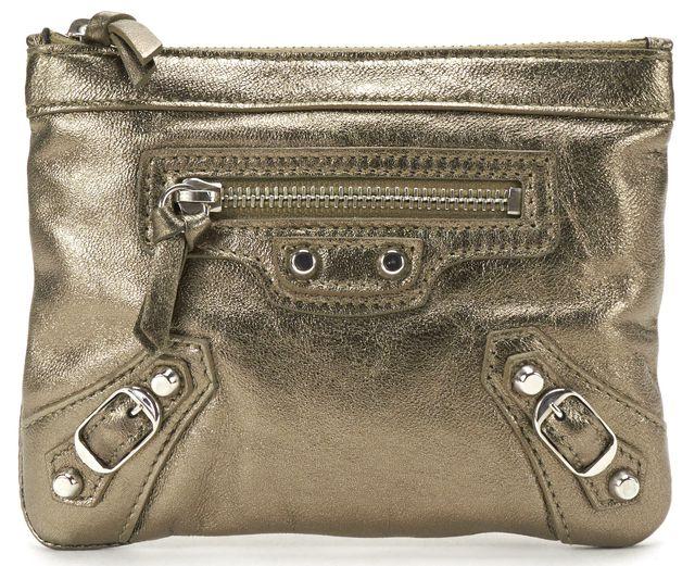 BALENCIAGA Metallic Leather Classic Money Pouch Bag