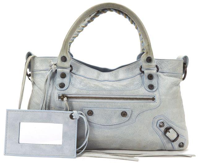 BALENCIAGA Light Blue Leather Classic First Satchel Handbag