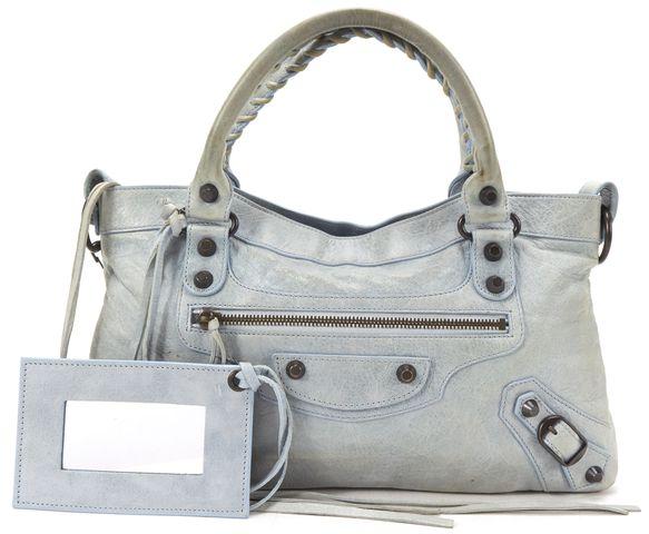 BALENCIAGA Authentic Light Blue Leather Classic First Satchel Handbag