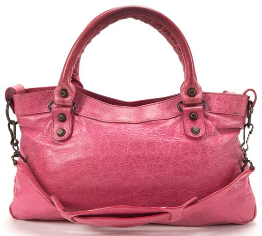 BALENCIAGA Pink Leather Classic First Satchel Handbag