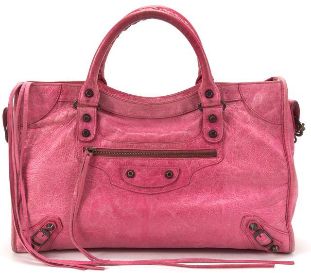 BALENCIAGA Pink Leather Classic City Satchel Handbag