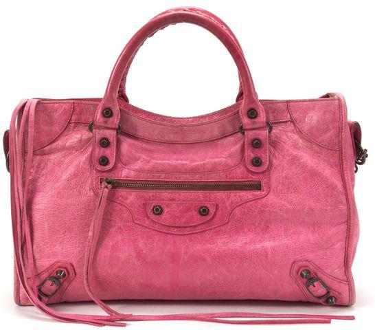 BALENCIAGA Authentic Pink Leather Classic City Satchel Handbag