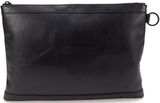 BALENCIAGA Authentic Black Leather Classic Clip M Clutch Bag