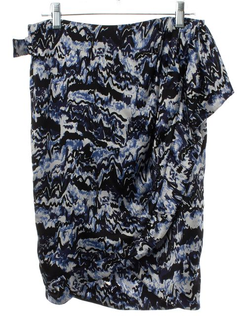 BALENCIAGA Blue White Abstract Silk Wrap Skirt