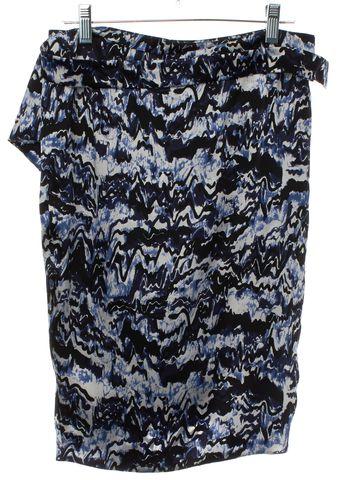 BALENCIAGA Blue White Abstract Silk Wrap Skirt Size 6 FR 38