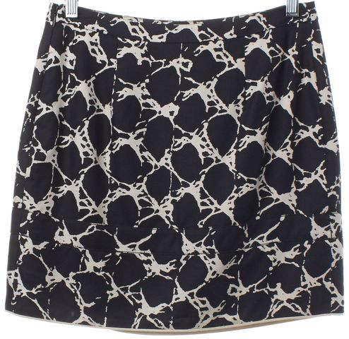 BALENCIAGA Navy Blue White Print Silk Mini Skirt Size 4 FR 36
