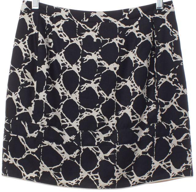 BALENCIAGA Navy Blue White Print Silk Mini Skirt