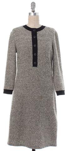 BALENCIAGA Gray Black Striped Wool Button Detail Sweater Dress Size 6