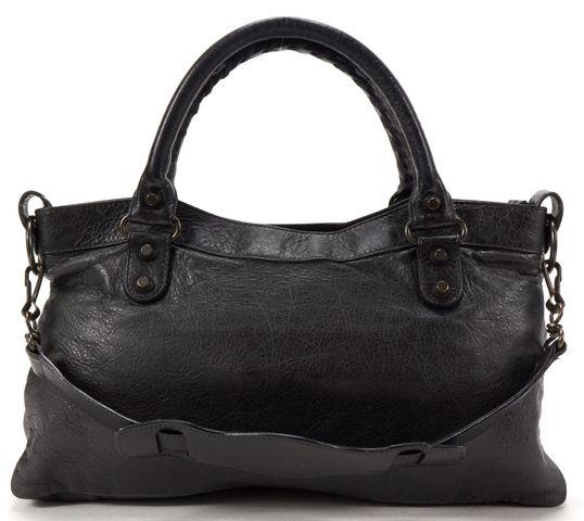 BALENCIAGA Authentic Black Leather Classic First Satchel Handbag