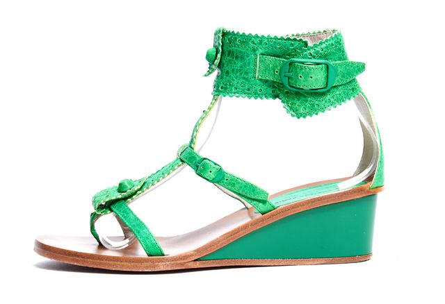 BALENCIAGA Green Leather Open-toe Ankle Strap Low Wedge Sandals