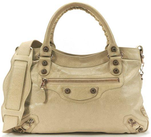 BALENCIAGA Authentic Nude Leather Giant 12 Town Satchel Handbag