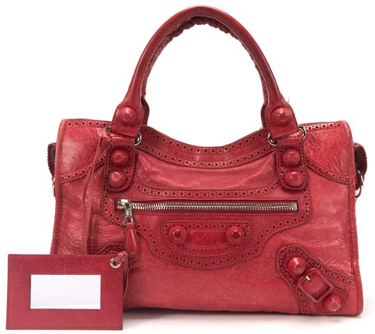 BALENCIAGA Red Leather Giant Brogues Covered City Satchel Handbag