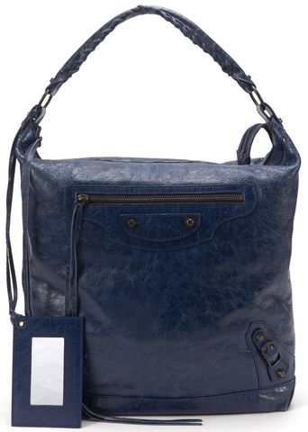 BALENCIAGA Authentic Blue Leather Classic Day Hobo Handbag
