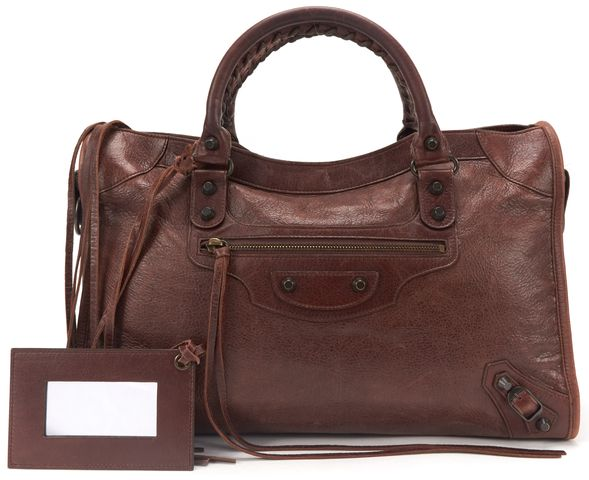 BALENCIAGA Brown Leather Classic City Satchel Handbag