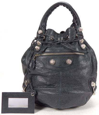 BALENCIAGA Authentic Forest Green Leather Giant 21 Pompon Bucket Satchel Bag