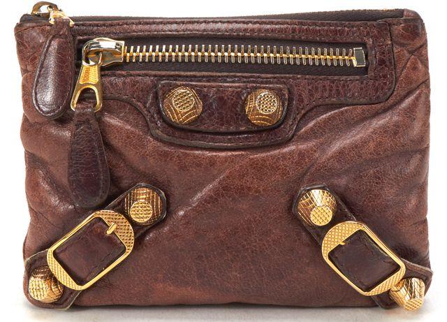 BALENCIAGA Brown Leather Giant 12 Coin Purse Card Holder Wallet w/ Box
