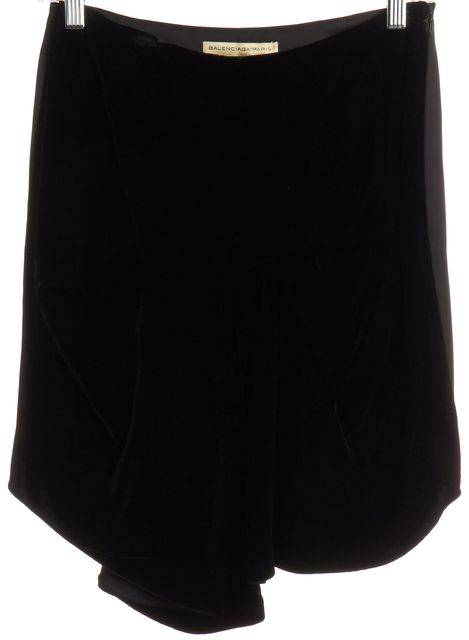 BALENCIAGA Black Velvet Panel Drape Front Skirt