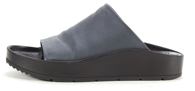 BALENCIAGA Blue Leather Slide Sandals Size 38