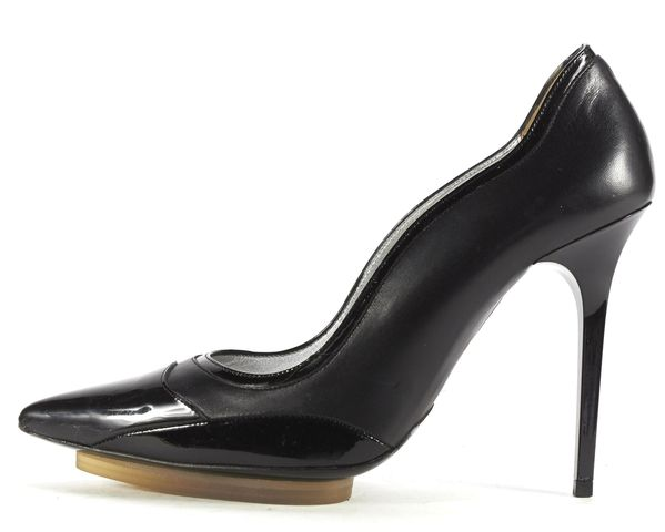 BALENCIAGA Black Leather Tonal Pointed-Toe Platform Pumps Size 38.5
