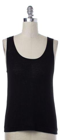 BALENCIAGA Black Ribbed Knit Top Size 6 IT 46