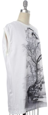 BALENCIAGA White BlackGraphic T-Shirt Size 6 FR 38