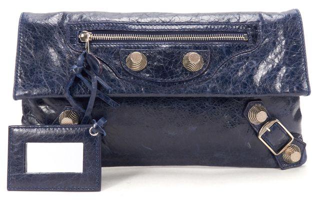 BALENCIAGA Authentic Blue Leather Silver Stud Giant Envelope Clutch Bag