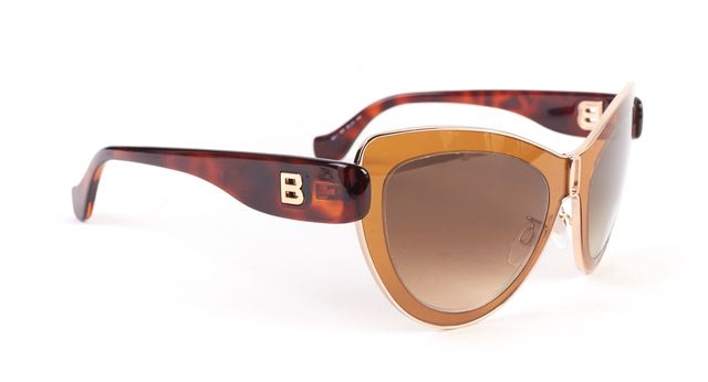 BALENCIAGA Brown Gray Wire Frame Gradient Lens Cat-Eye Sunglasses