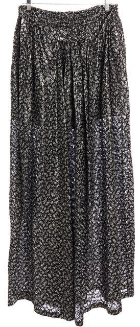 BALENCIAGA Gray Black Floral Textured Maxi Skirt