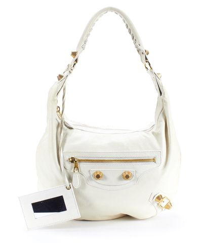 BALENCIAGA Ivory Leather Classic Day Giant 21 Hobo Shoulder Bag