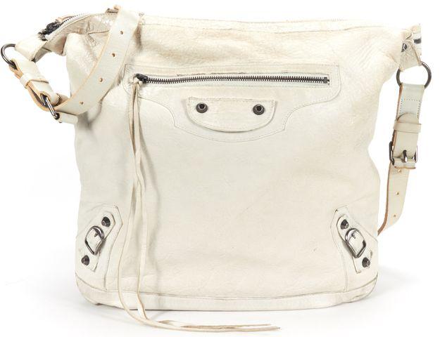 BALENCIAGA Authentic White Leather Classic Day Messenger Crossbody Handbag