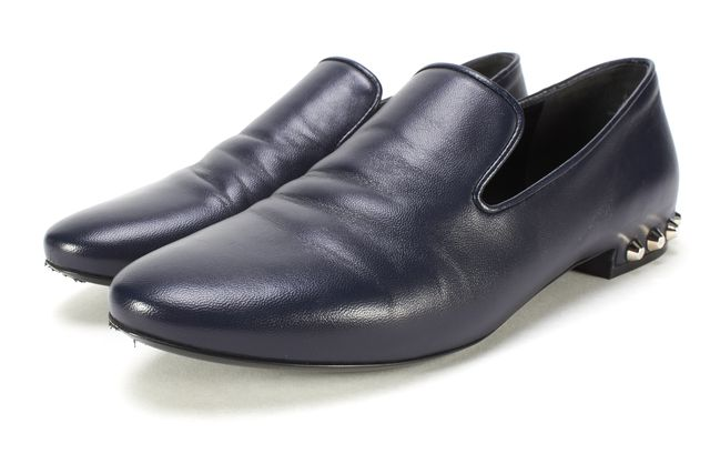 BALENCIAGA Navy Blue Leather Studded Slide-On Loafer Flats Size 36