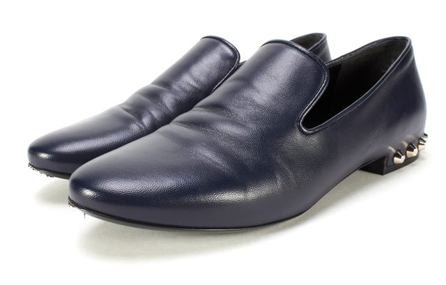 BALENCIAGA Navy Blue Leather Studded Slide-On Loafer Flats