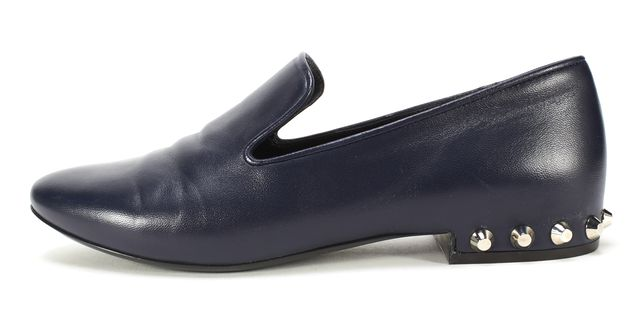BALENCIAGA Navy Blue Leather Studded Slide-On Loafer Flats