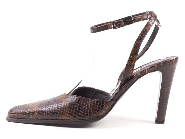 BALENCIAGA Brown Snake Embossed Leather Pointed-toe Strappy Heels