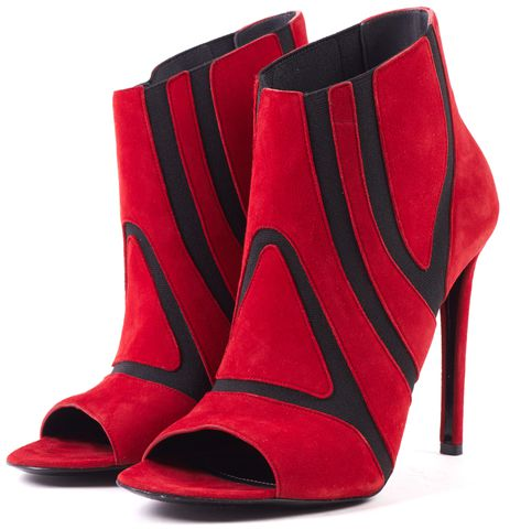 BALENCIAGA Red Black Suede Elastic Open Toe Stiletto Heel Ankle Boots