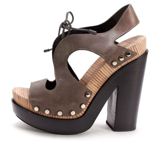 BALENCIAGA Brown Leather Silver Stud Platform Sandal Heels