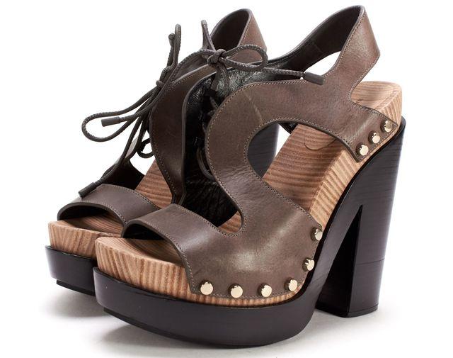 BALENCIAGA Brown Leather Silver Stud Platform Sandal Heels