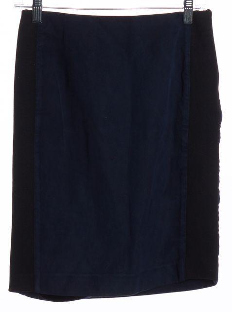 BALENCIAGA Navy Blue Black Colorblock Straight Skirt